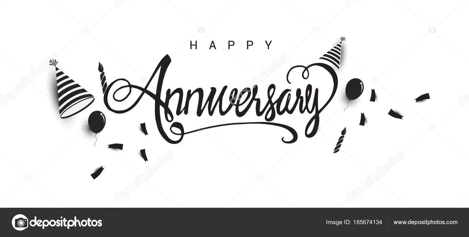 Banner Feliz Aniversario: Happy Anniversary Lettering Text Banner Holiday Balloons