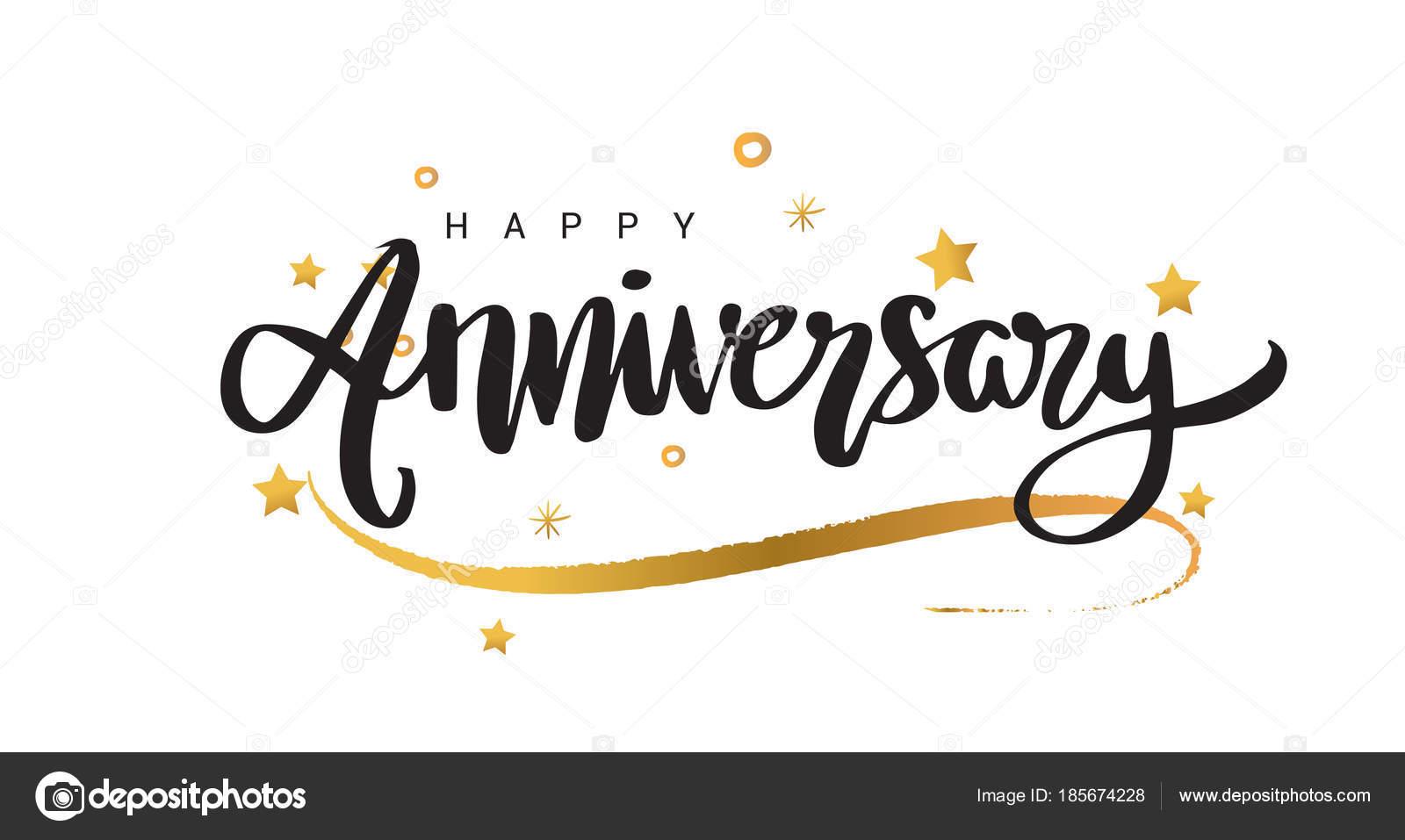 Banner Feliz Aniversario: Bandiera Felice Anniversario Lettering Testo Nero Con