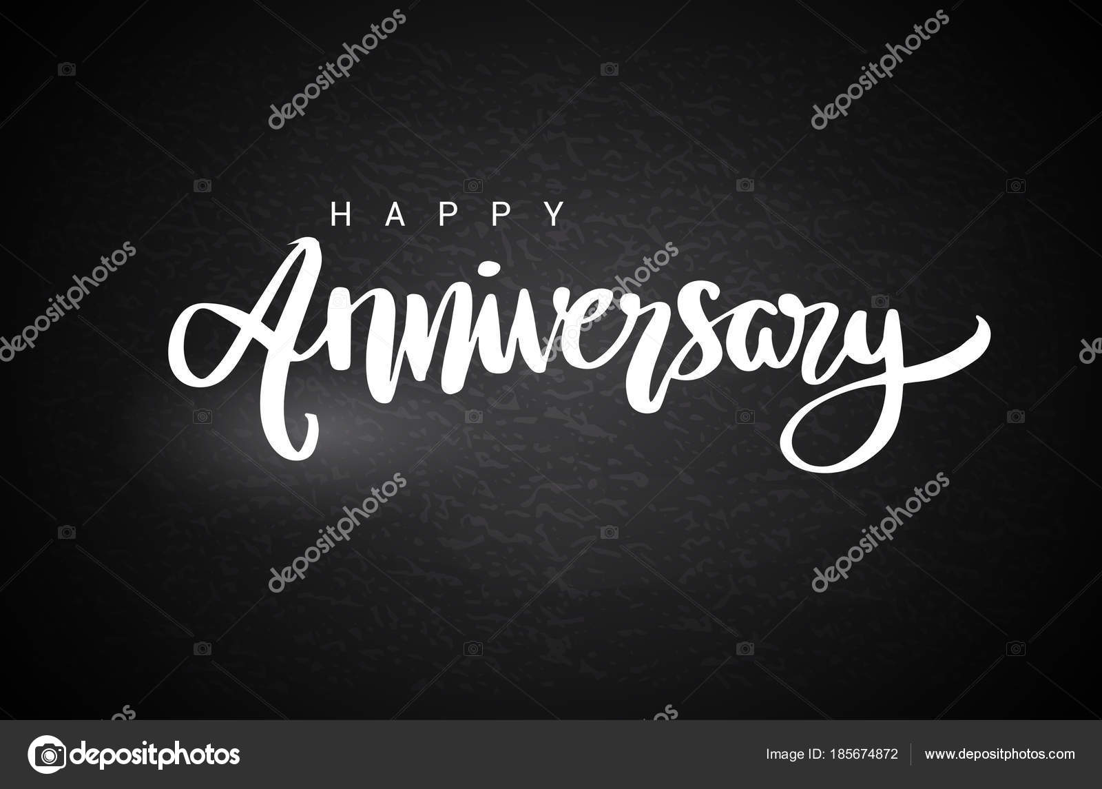 happy anniversary lettering text banner white color vector illustration black stock vector