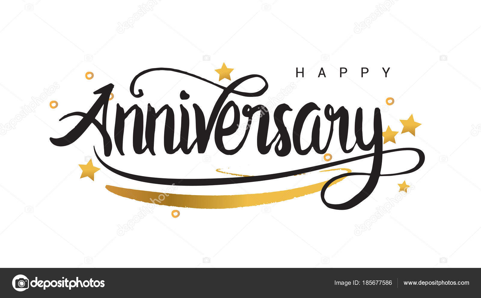 happy anniversary lettering black text banner golden stars ribbon vector stock vector
