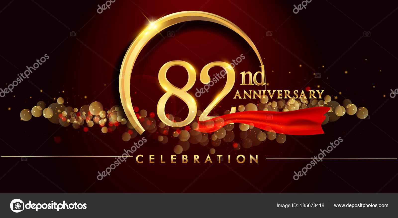 Nd anniversary logo golden ring confetti red ribbon elegant