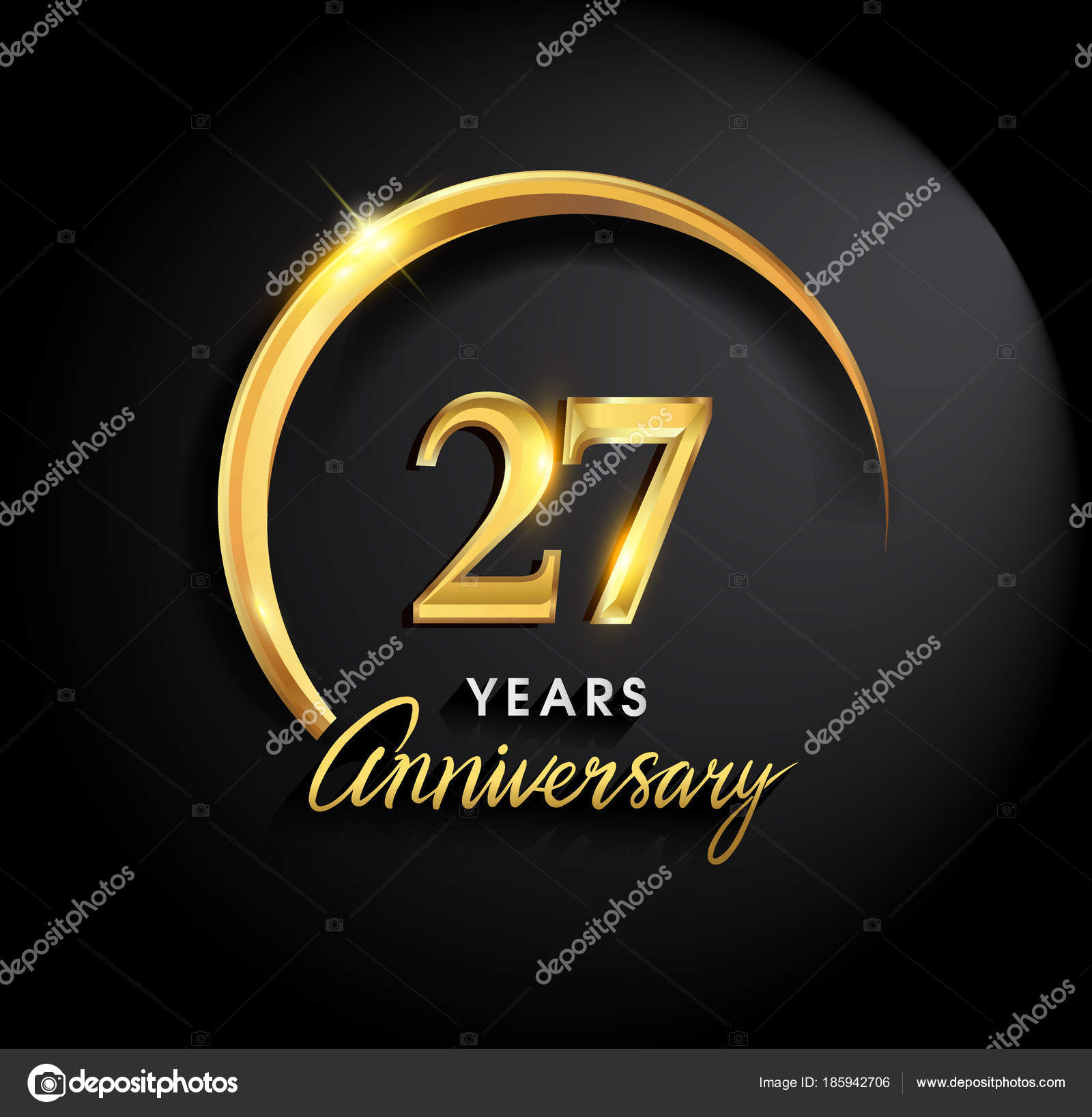 Years anniversary celebration anniversary logo ring elegance golden 27 years anniversary celebration anniversary logo with ring and elegance golden color on black background vector design for celebration invitation card biocorpaavc Images