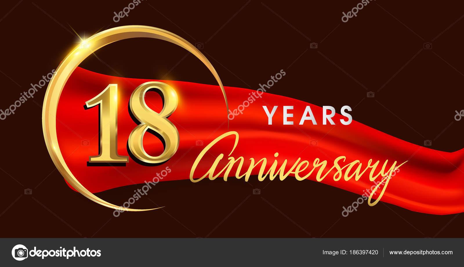 Fondo Para Tarjetas De 18 Años Logotipo Del Aniversario