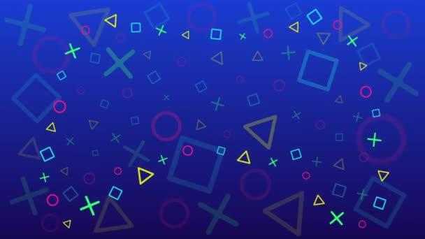 A koncepció a játékosok, bloggerek, animált vektor háttér egy játék téma. Képernyővédő, előzetes. A rajztáblán körök, négyzetek, trogolniki, keresztek vannak. Gamepadként feküdt..