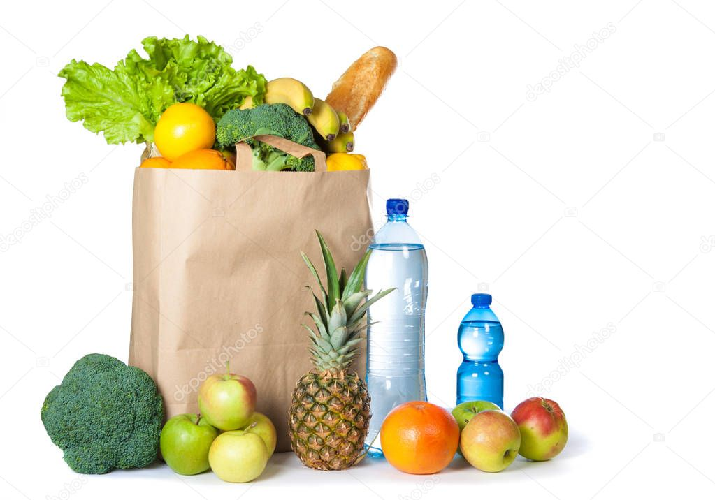 A variety of useful products on a white background. Health food