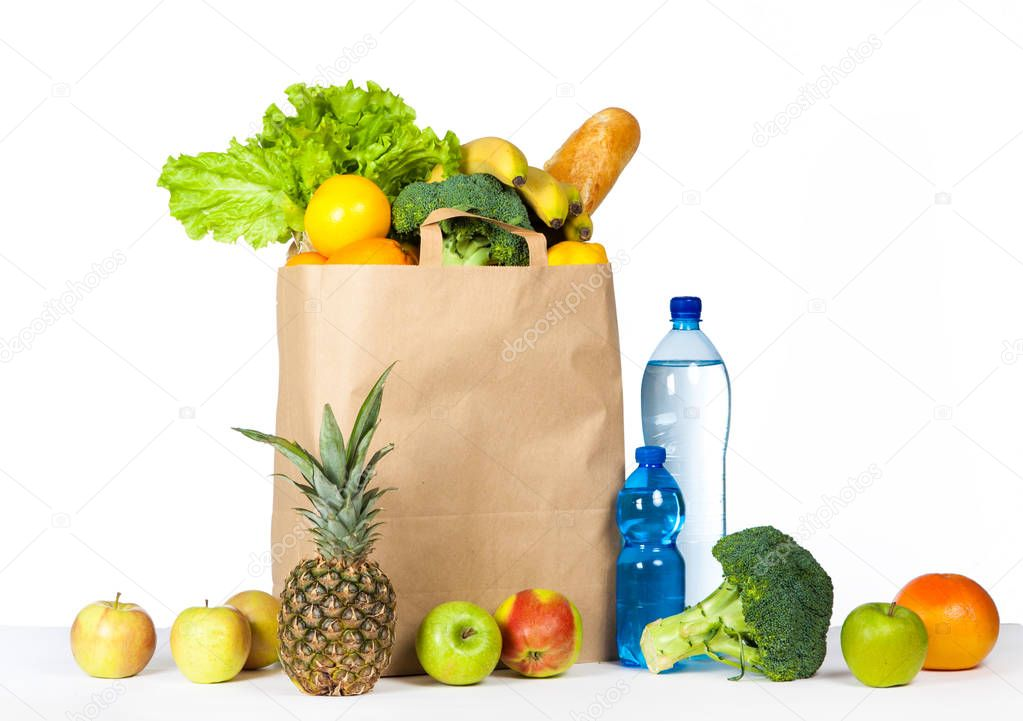 A variety of useful products on a white background. Health food.