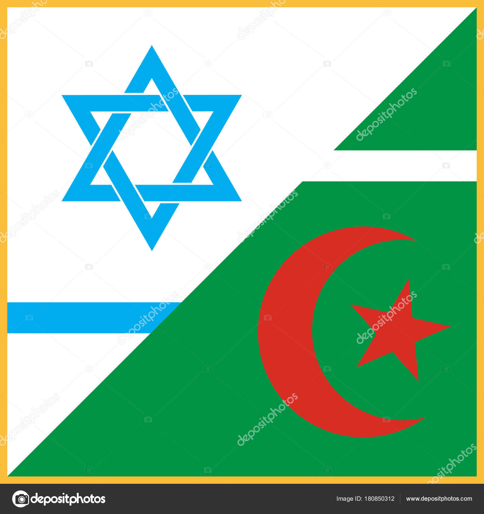 Set Of Vector Symbols Of Two Abrahamic Or Semitic Religions Islamic
