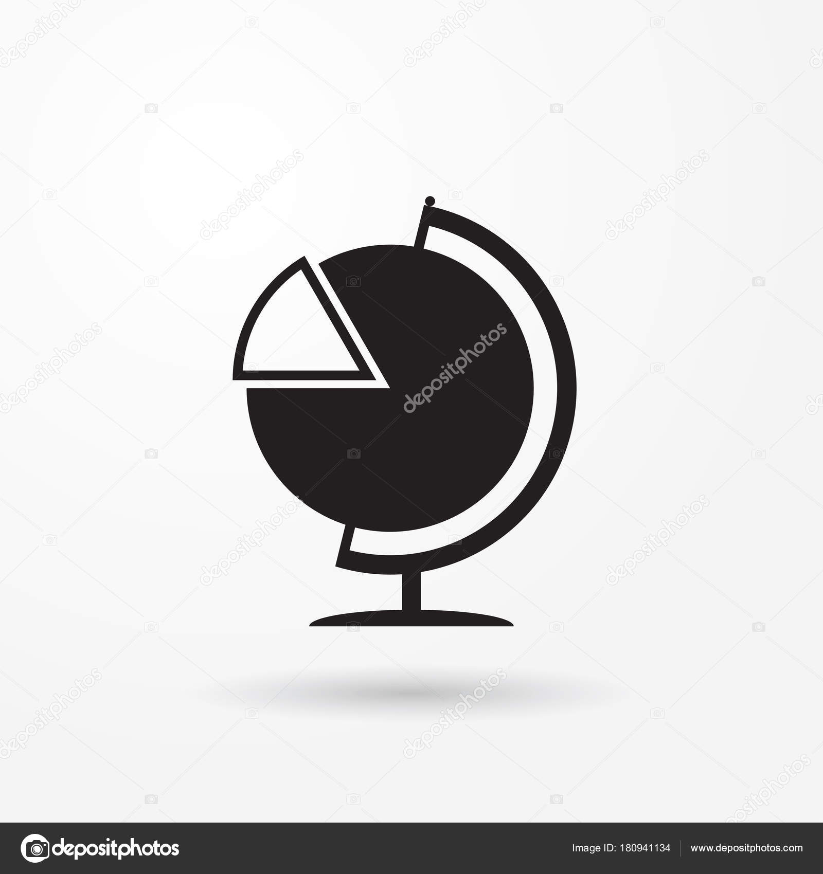 Half Globe Plus Half Pie Chart Vector Icon In Meaning Global