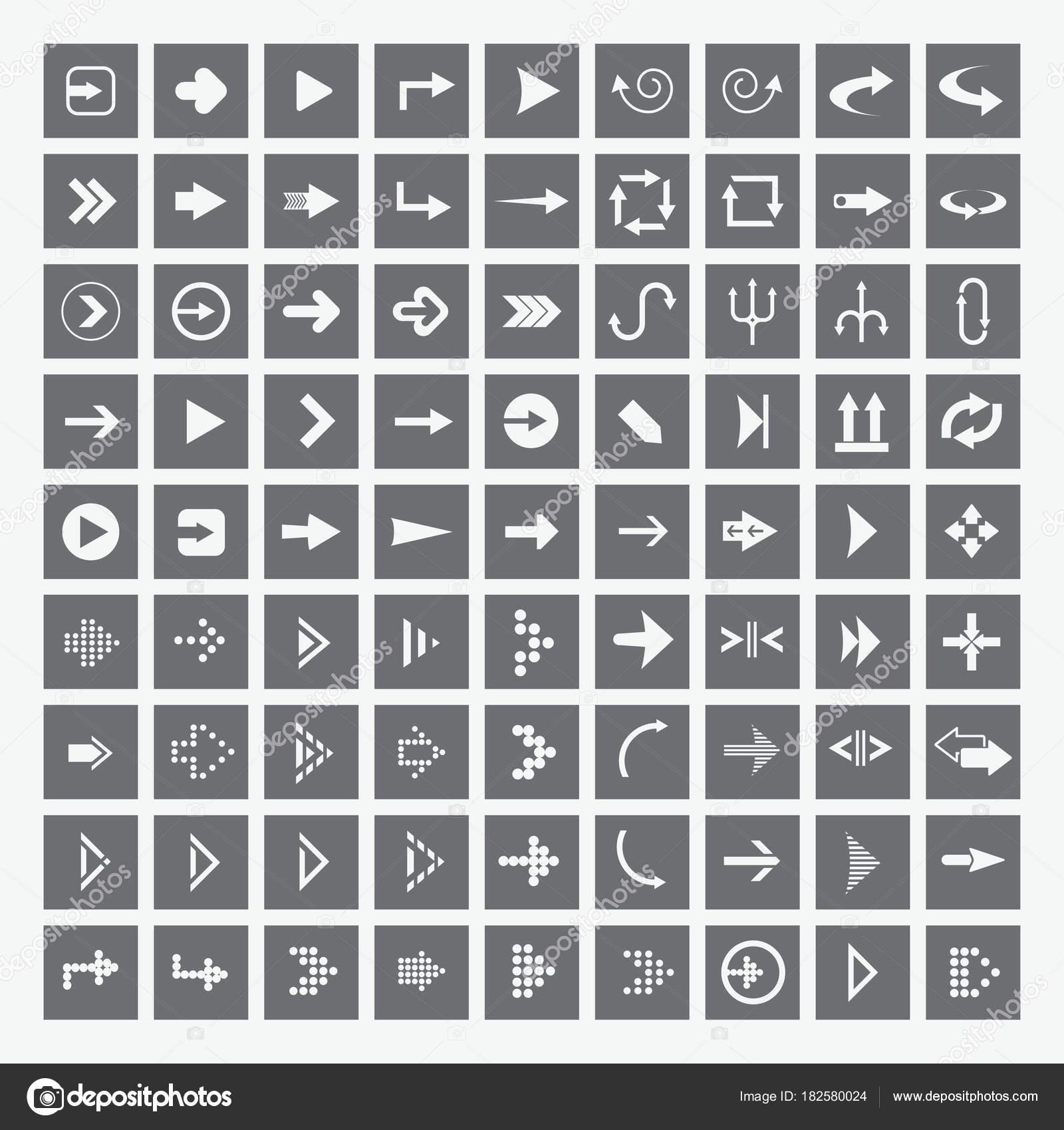 Pfeil-Zeichen-Icon-Set. Einfache quadratische grau-Internet-Button ...