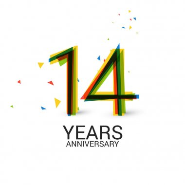 14 Years Anniversary Layered and Colorful Celebration Logo Isolated on White Background
