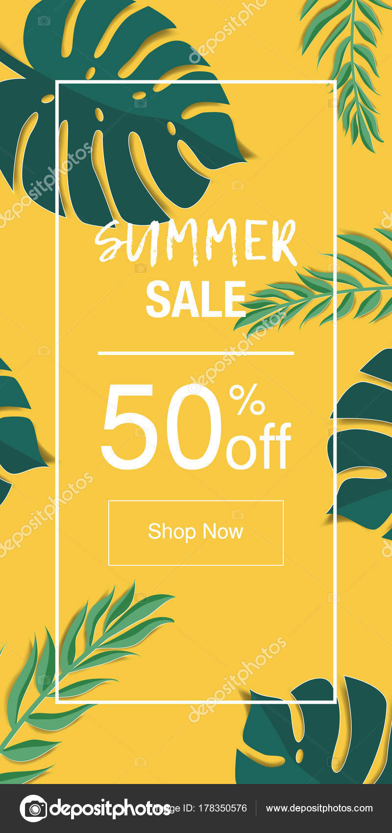 Summer Vector Design Wallpaper Greeting Card Flyer Palm Leaves Stock