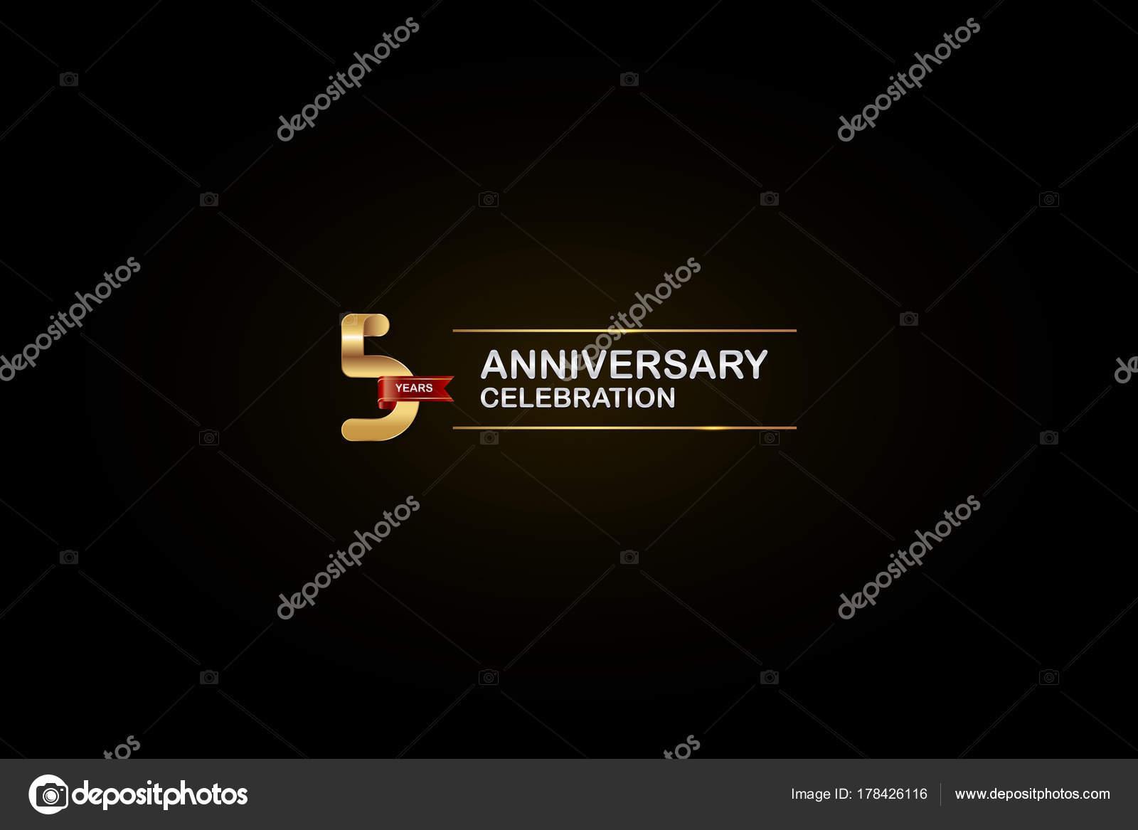 Years anniversary celebration logotype golden silver red ribbon