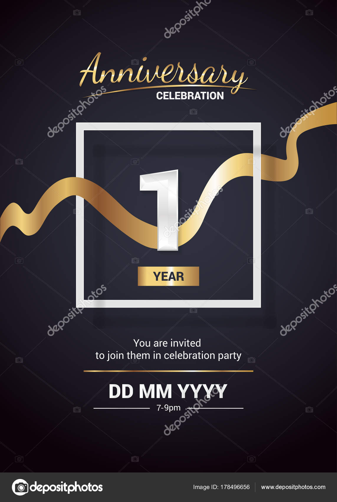 Year anniversary logo celebration invitation card gold ribbon vector 1 year anniversary logo celebration and invitation card with gold ribbon vector illustration on dark background vector by seklihermantaputragmail stopboris Image collections