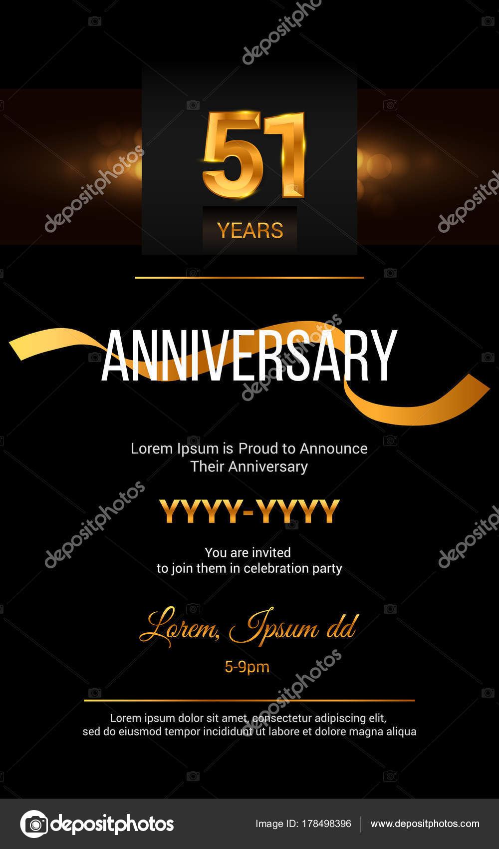 51 years anniversary invitation card stock vector 51 years anniversary invitation card stock vector stopboris Image collections