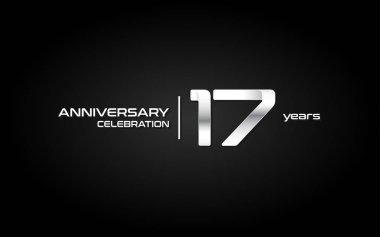 17 Years Anniversary Celebration Logo In White Gradient. Vector Illustration On Dark Background