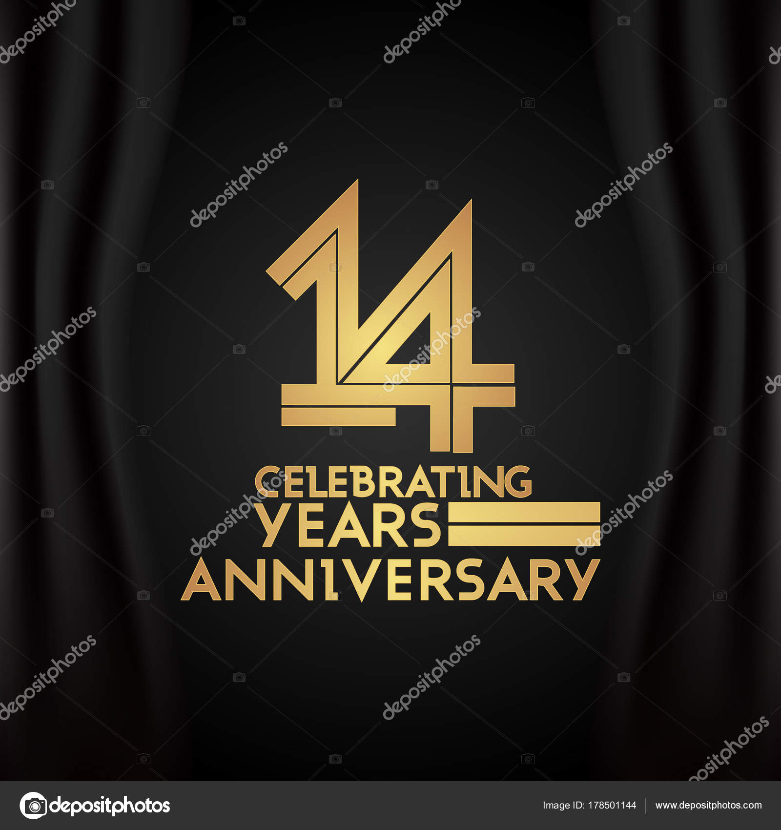 Years Anniversary Logotype Golden Multi Linear Number Vector