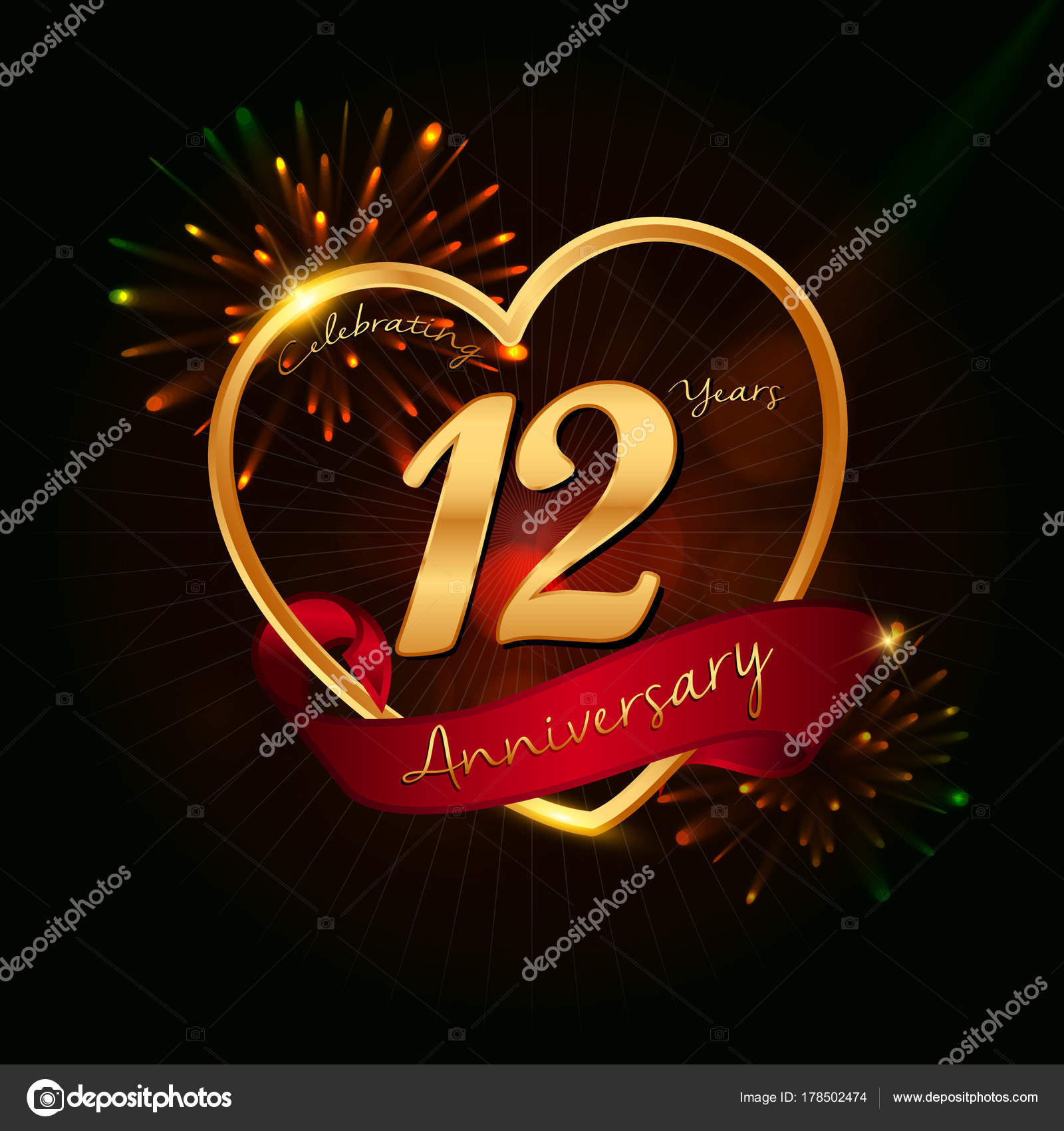 Logo Anniversaire 12 Ans Image Vectorielle