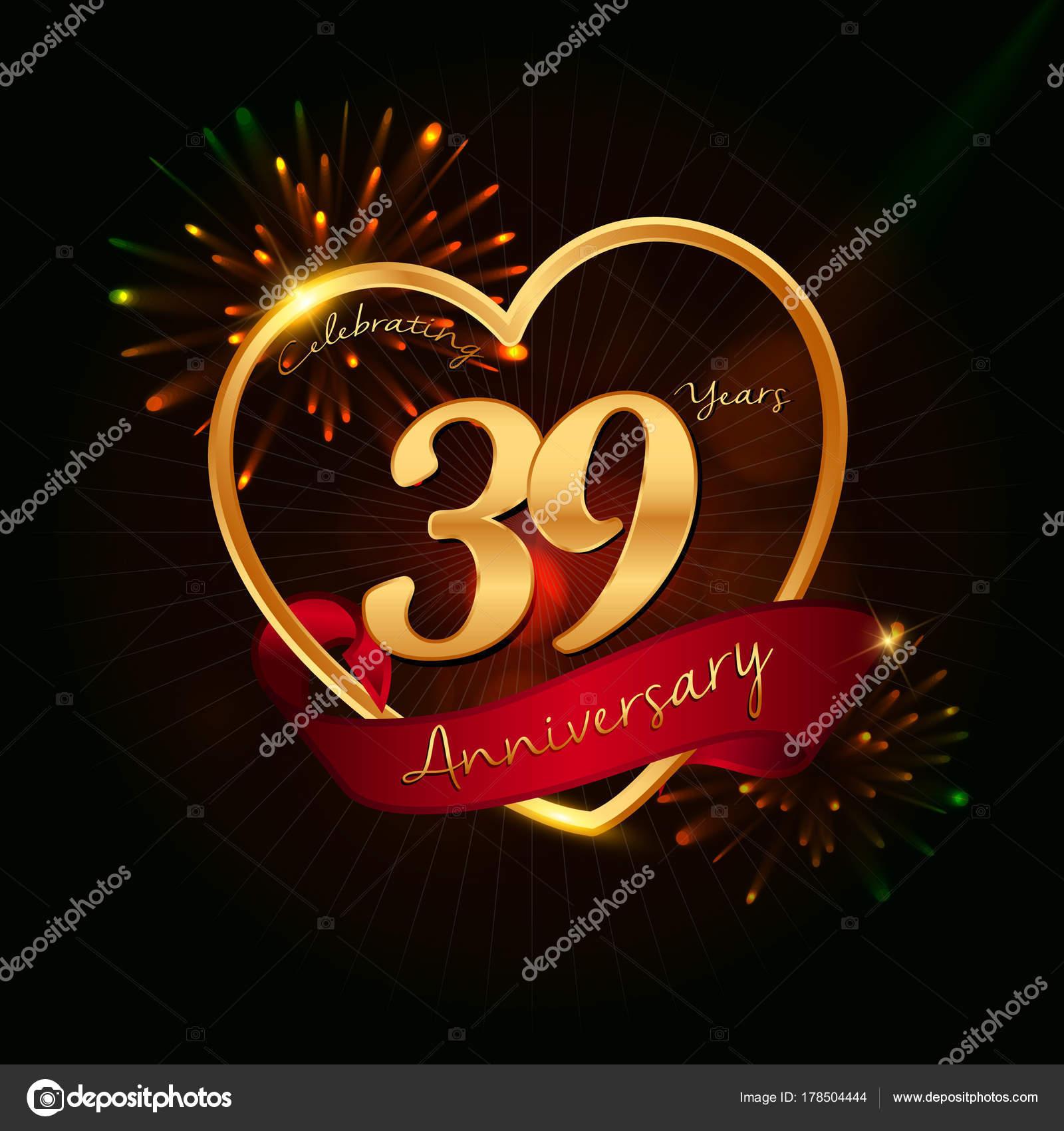 Anniversario Matrimonio 32 Anni.39 Years Anniversary Logo Stock Vector C Seklihermantaputra