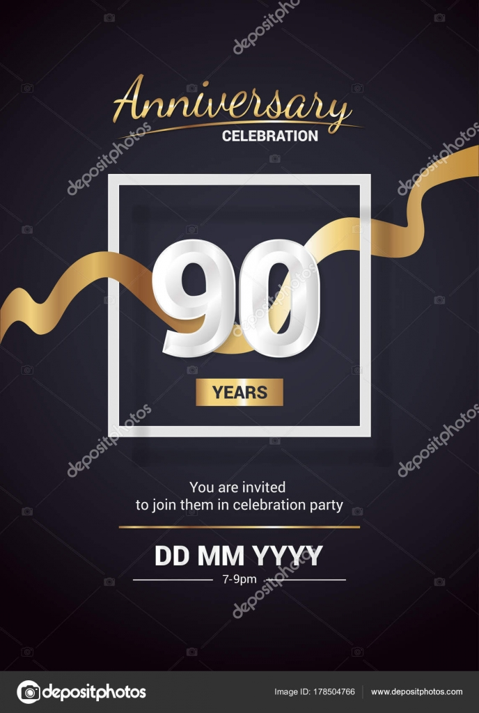 Años Aniversario Logo Tarjeta Invitación Con Cinta Dorada