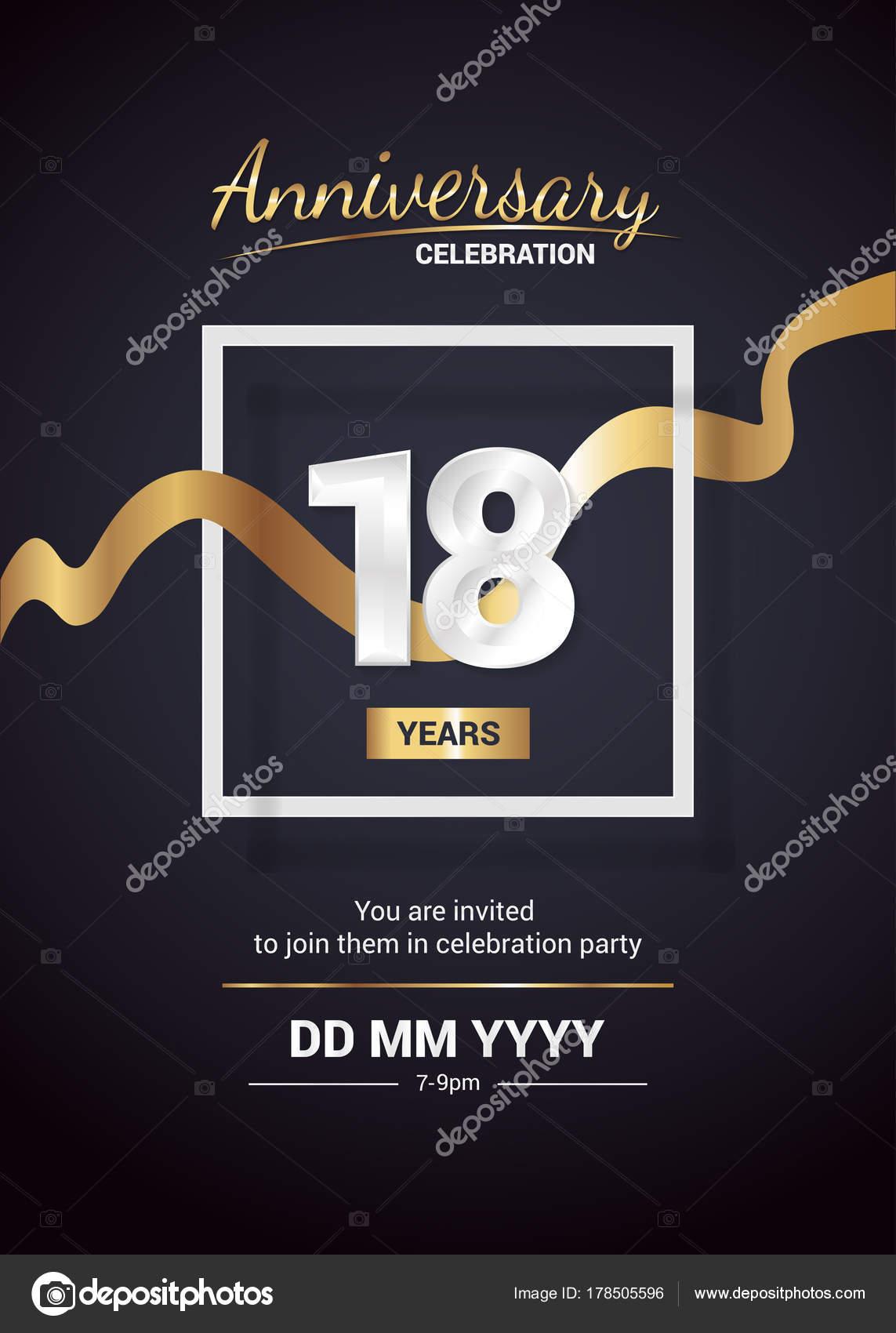 Fondo Para Invitaciones De 18 Años Años Aniversario Logo
