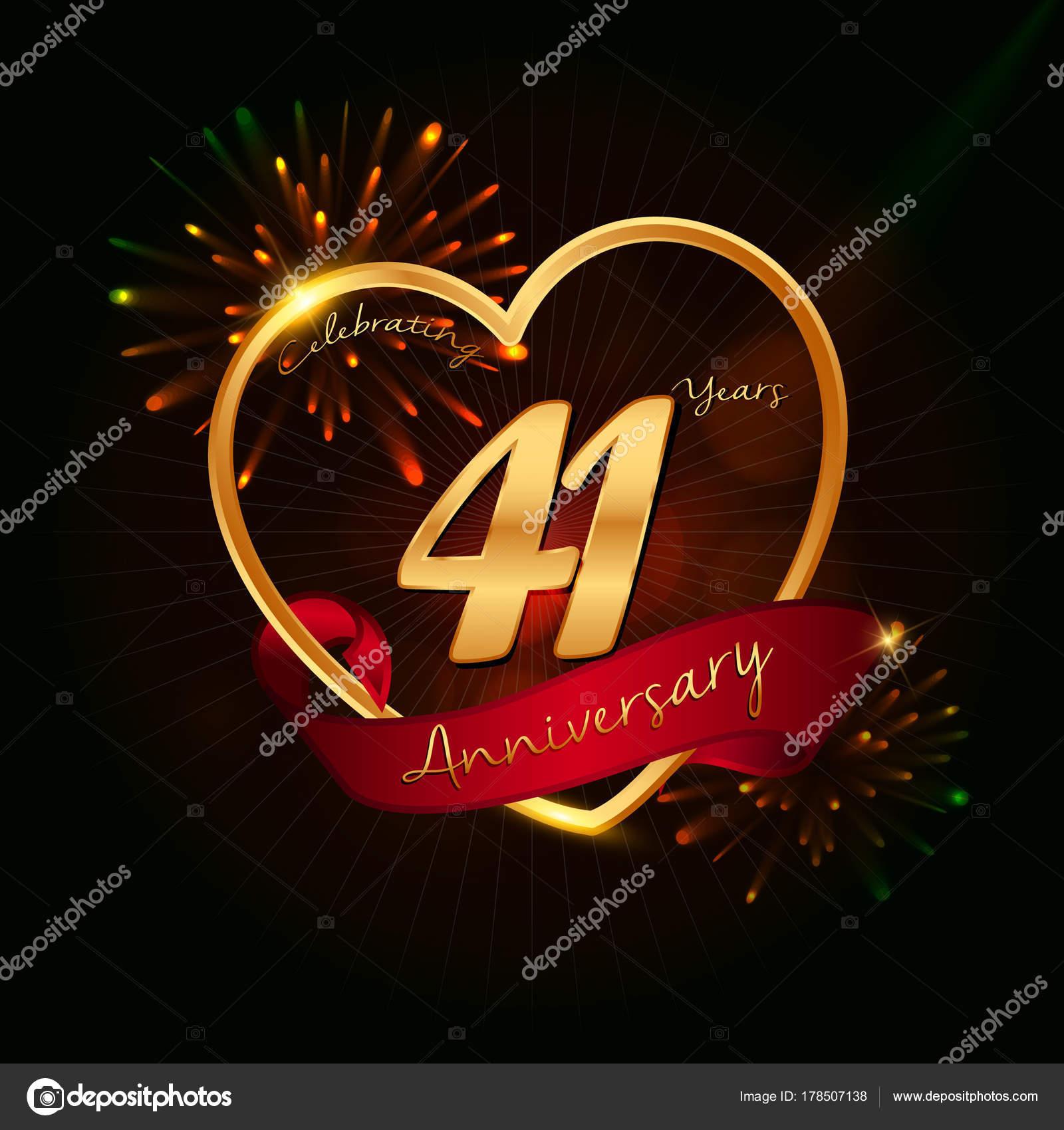 Anniversario Matrimonio 41 Anni.41 Years Anniversary Logo Stock Vector C Seklihermantaputra