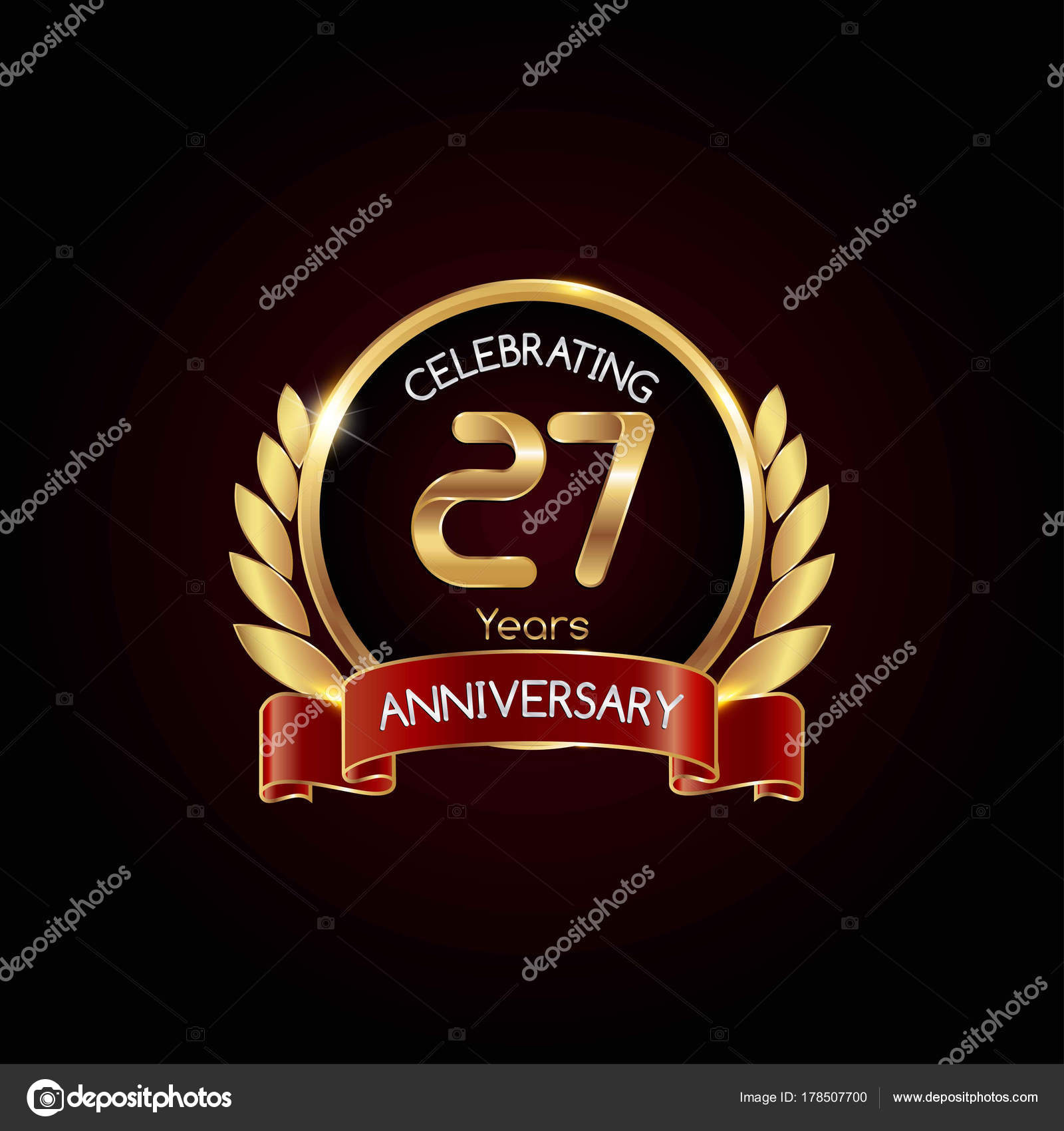 Years gold anniversary celebrating logo red ribbon vector 27 years gold anniversary celebrating logo with red ribbon vector illustration on dark background vector by seklihermantaputragmail biocorpaavc Images