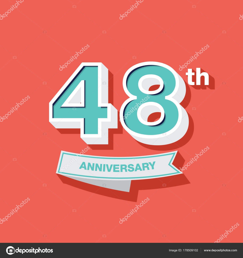 48e Verjaardag Ontwerp Stockvector C Seklihermantaputra Gmail Com
