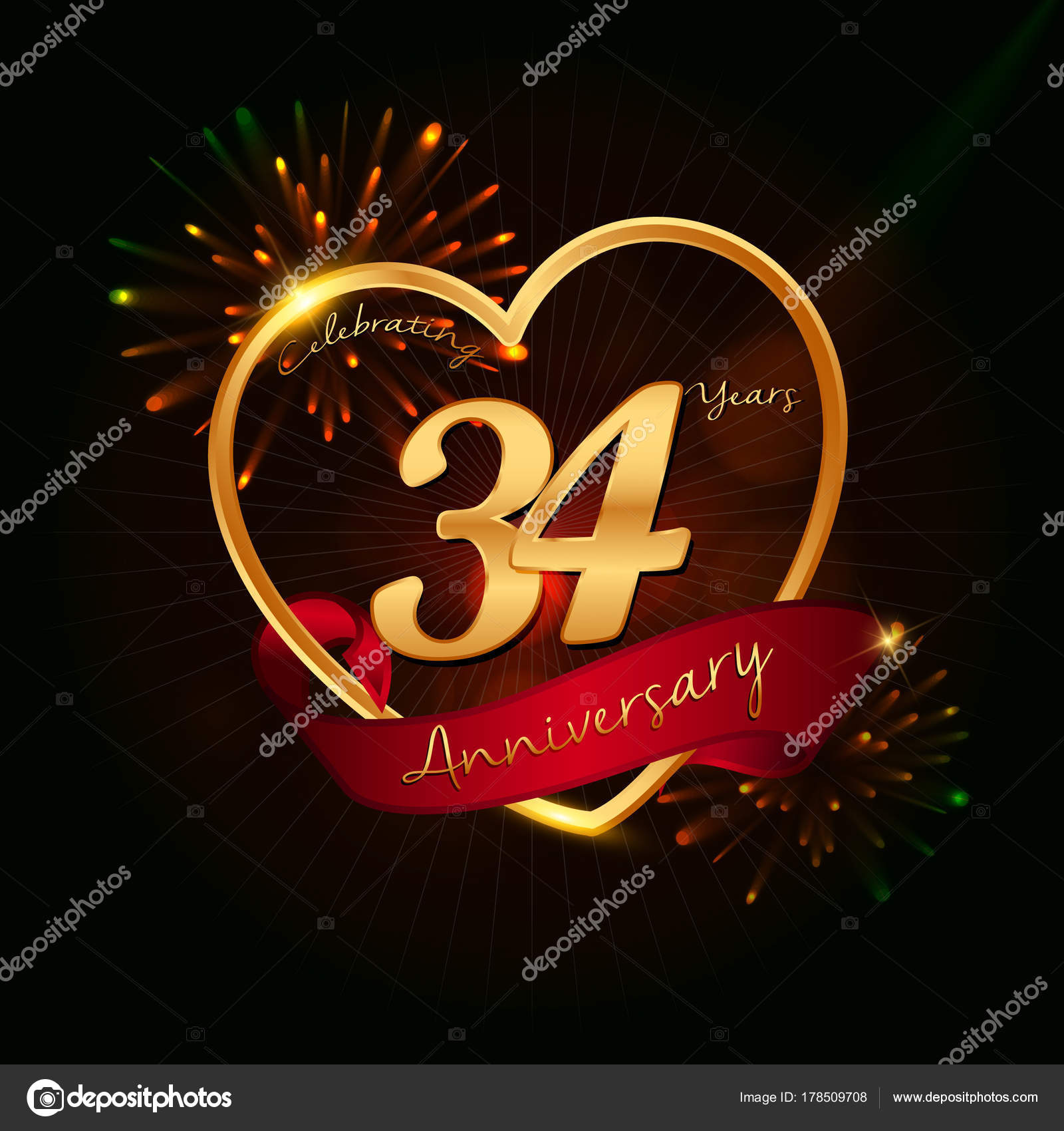 34 years anniversary logo golden colored,with love shape, red ribbon, and  fireworks background — Vector by [email protected]