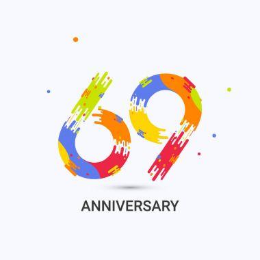 69 Years Anniversary, Splash Colored Logo Celebration Isolated on White Background