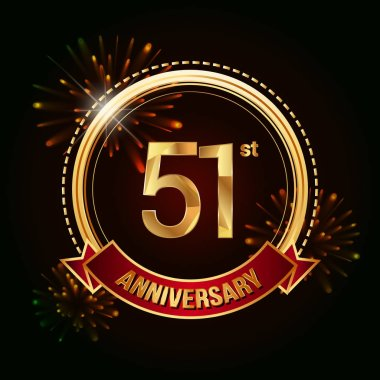 51sr gold anniversary celebrating logo with red ribbon and fireworks, vector illustration on dark background