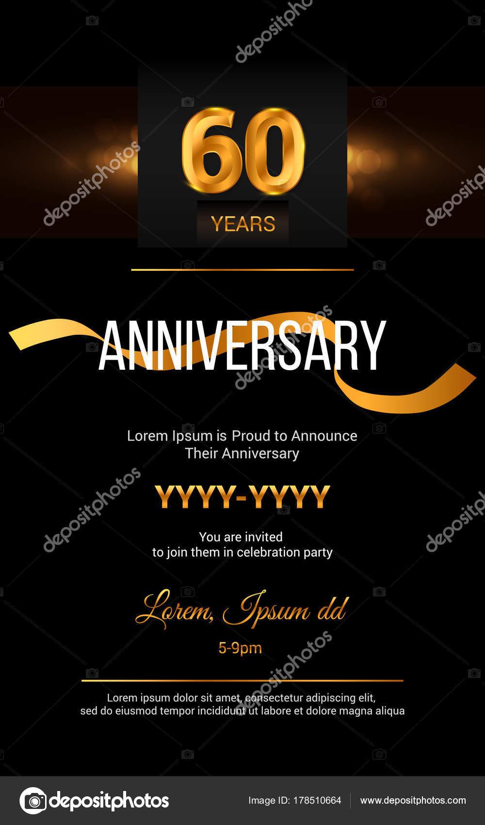 Tarjeta De Invitación De Aniversario De 60 Años Vector De
