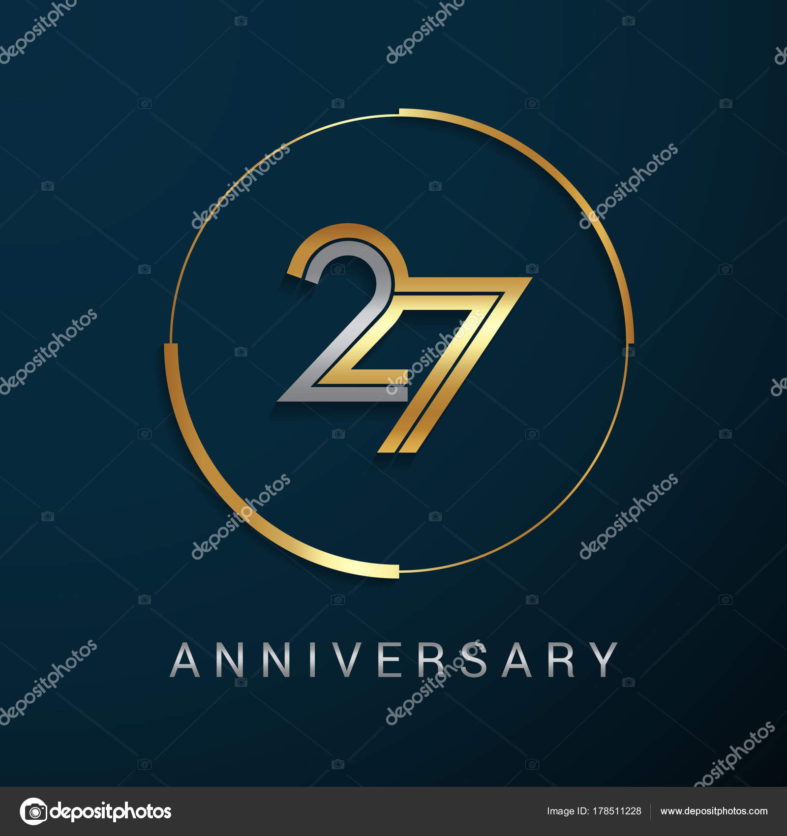 27 years anniversary logotype stock vector seklihermantaputra 27 years anniversary logotype with gold and silver multi linear number in a golden circle isolated on dark background vector by biocorpaavc Images
