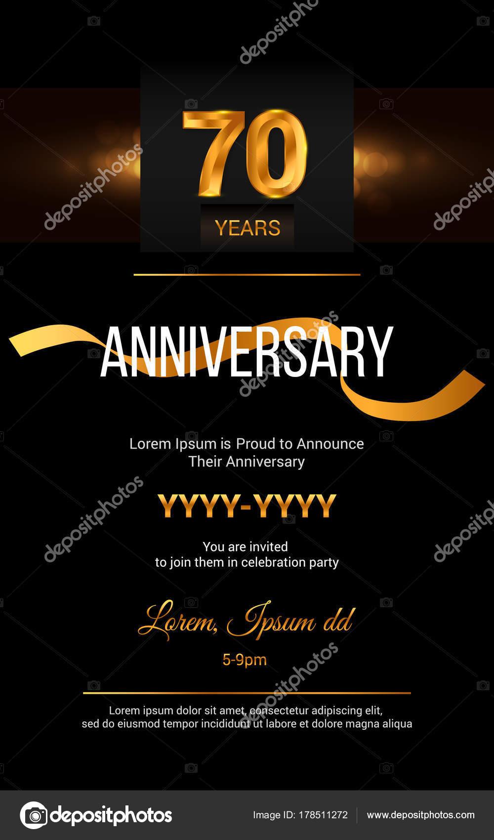 Carte D Invitation Anniversaire 70 Ans Image Vectorielle