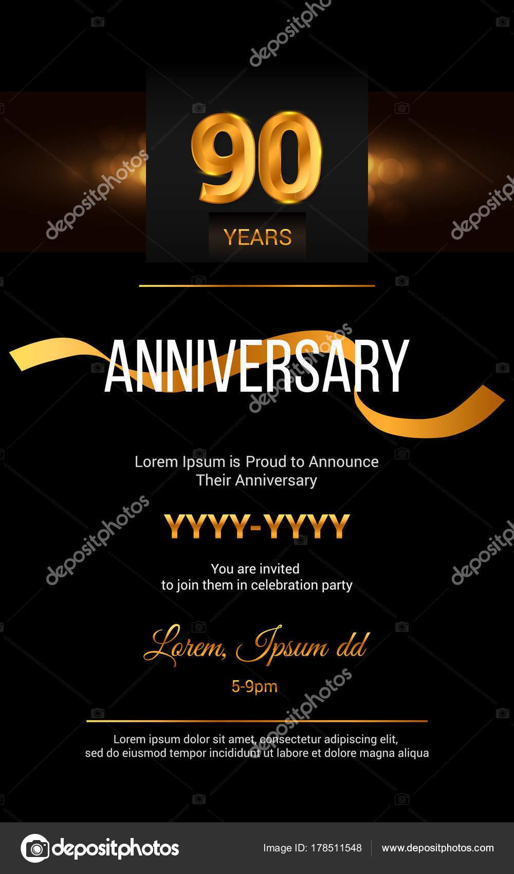 Tarjeta De Invitación De Aniversario De 90 Años Vector De