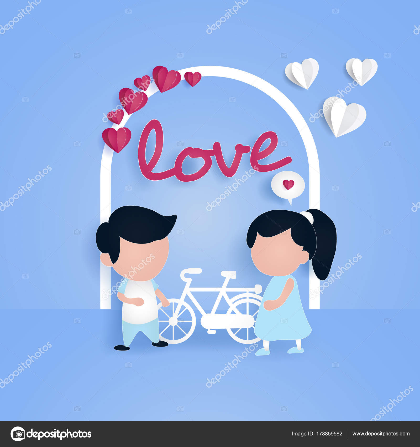 Colorful Valentine Day Card Template Cartoon Couple Vector