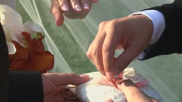 Groom putting a wedding ring on brides finger