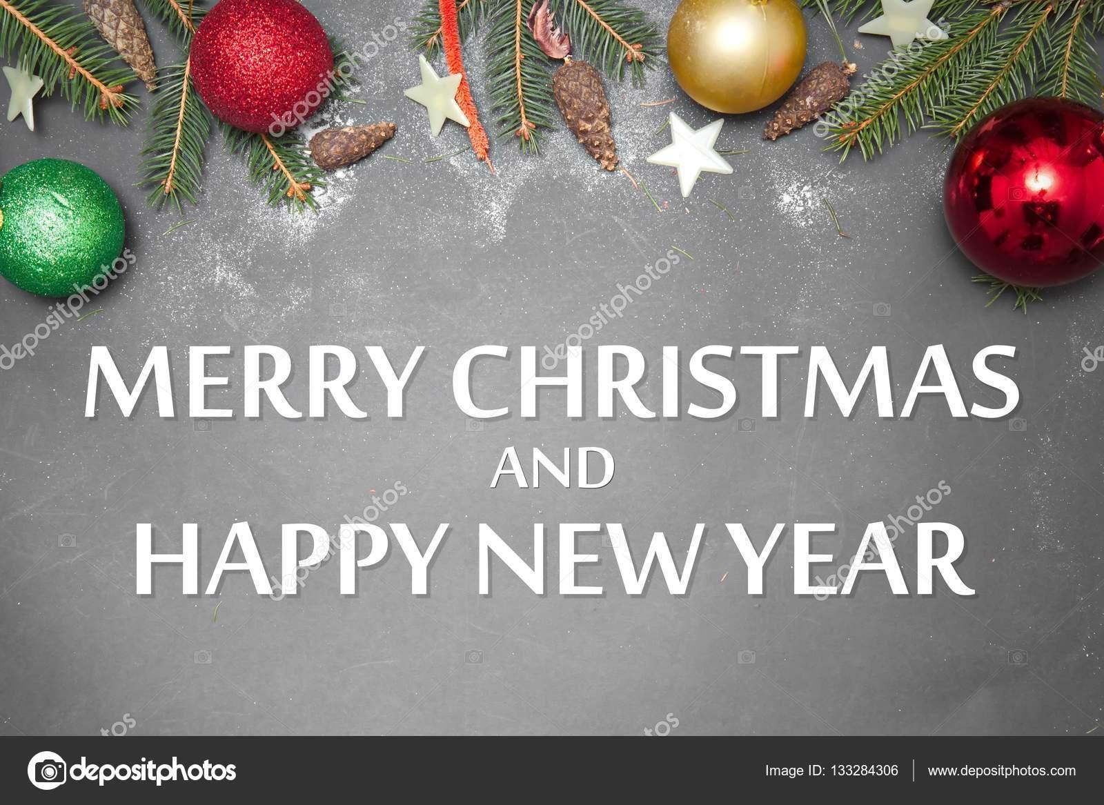 Weihnachts-Dekoration mit Nachricht Merry Christmas And Happy New ...