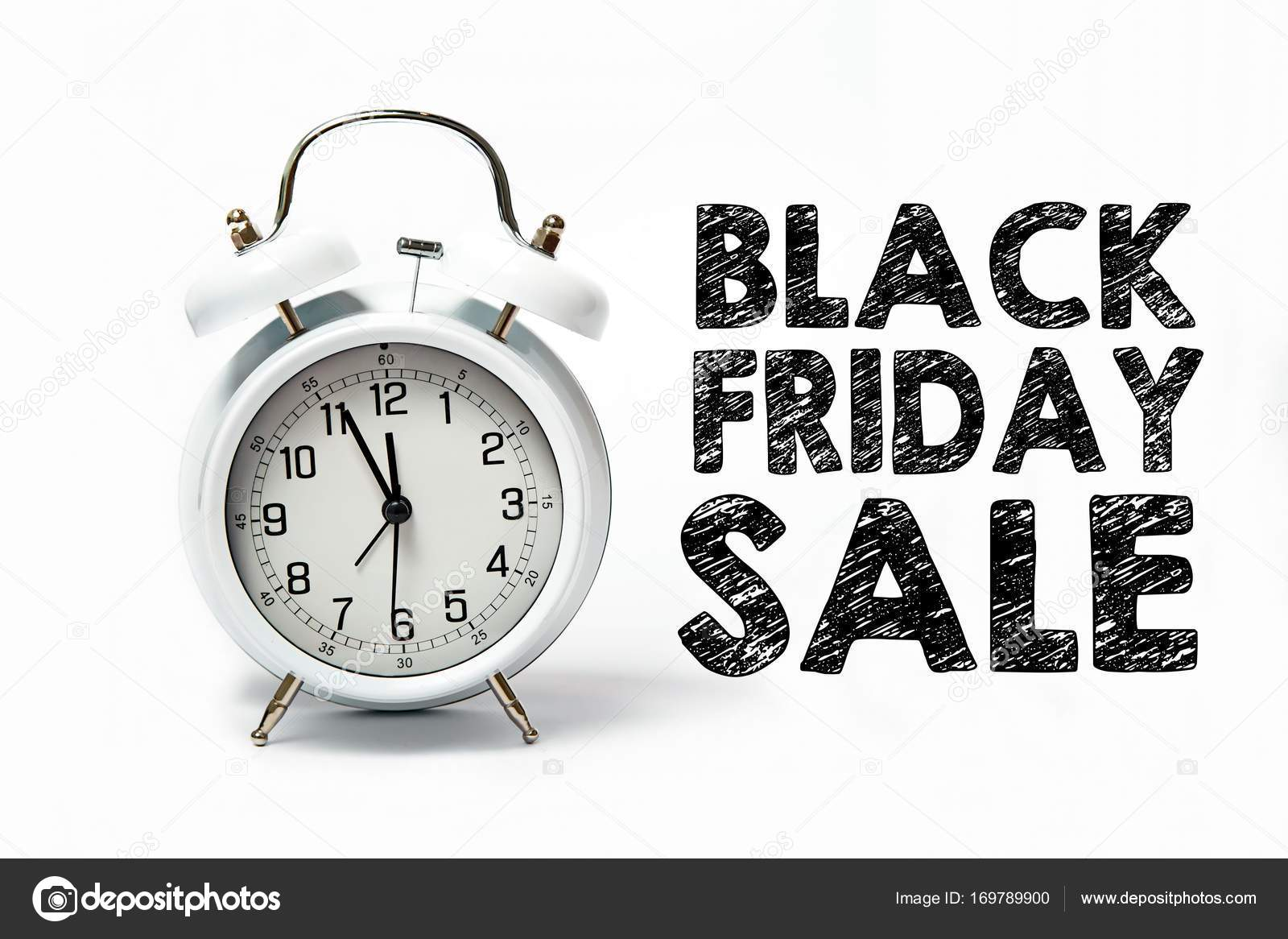 Old white clock with text black friday sale stock photo