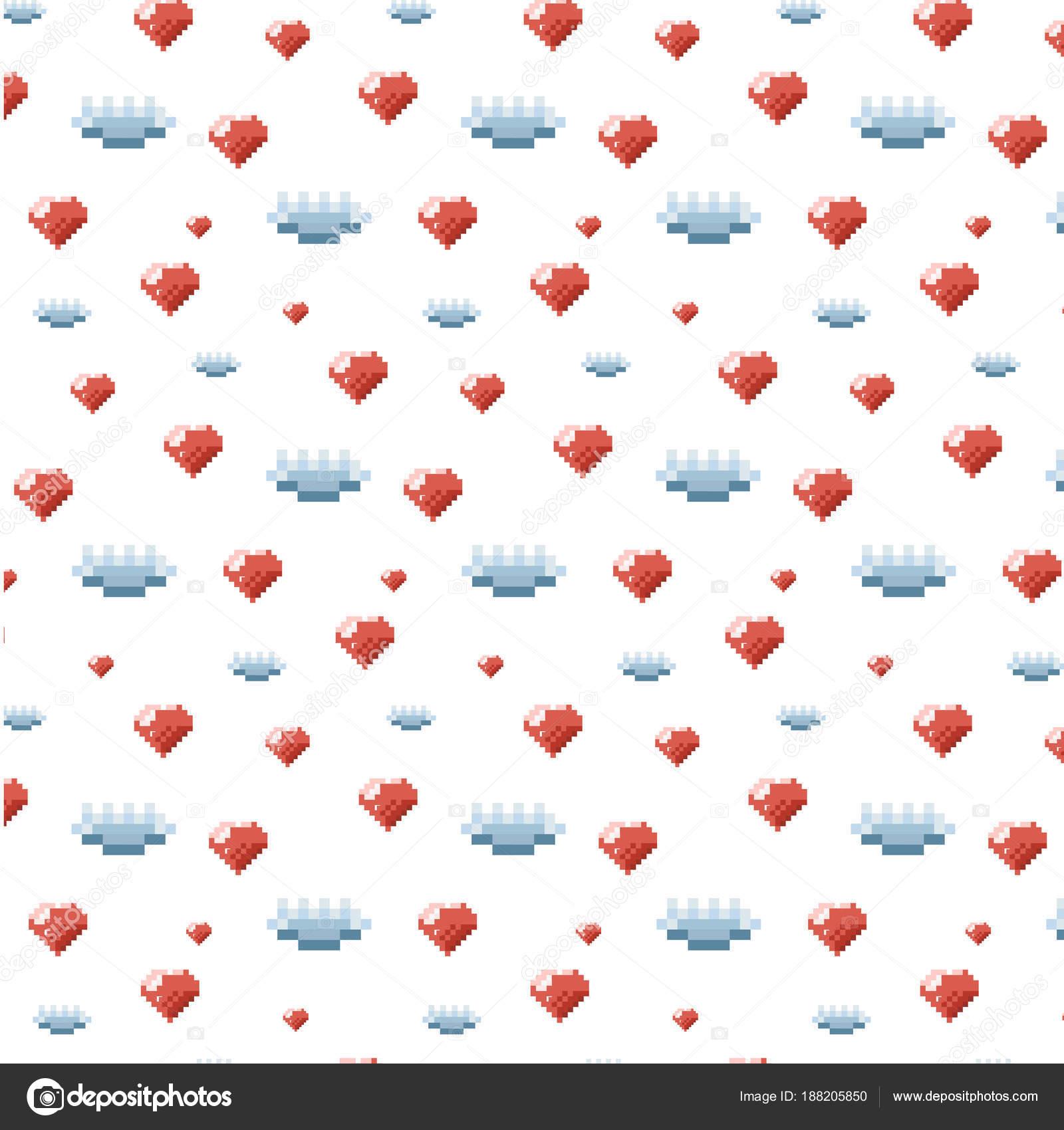 Modèle Ornement Pixel Art Avec Coeur Orange Nuage Bleu Sur