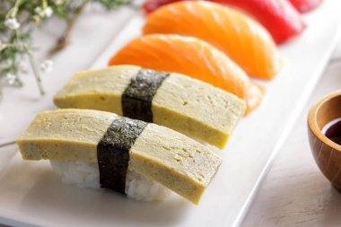 japanese cuisines nigiri sushi set with wasabi, soy sauce
