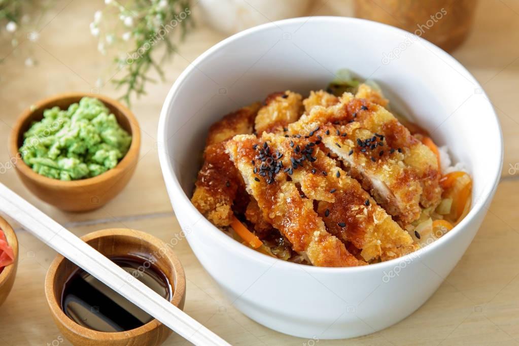 Japanese food chicken katsu don served
