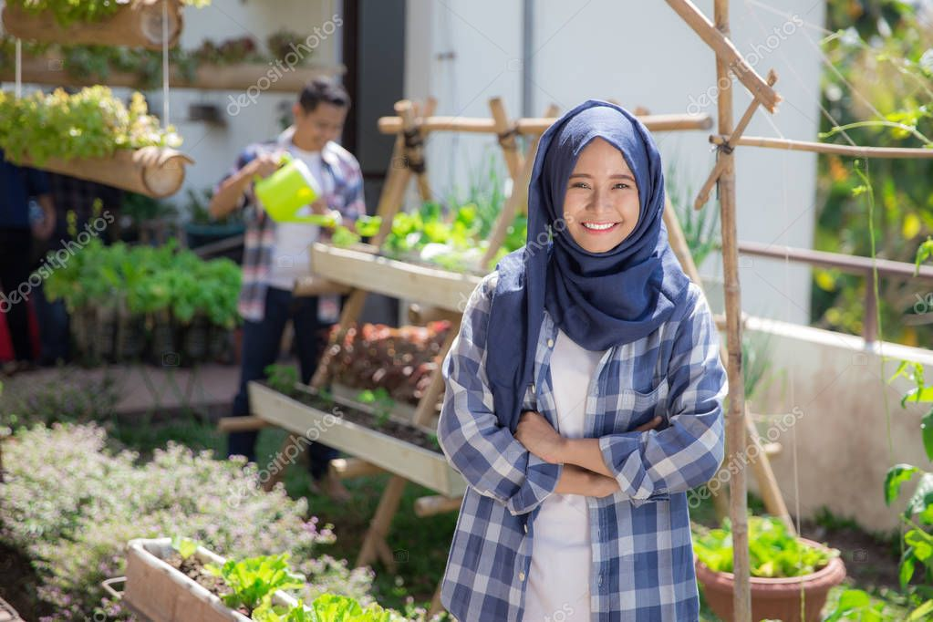asian woman in rooftop farm or garden