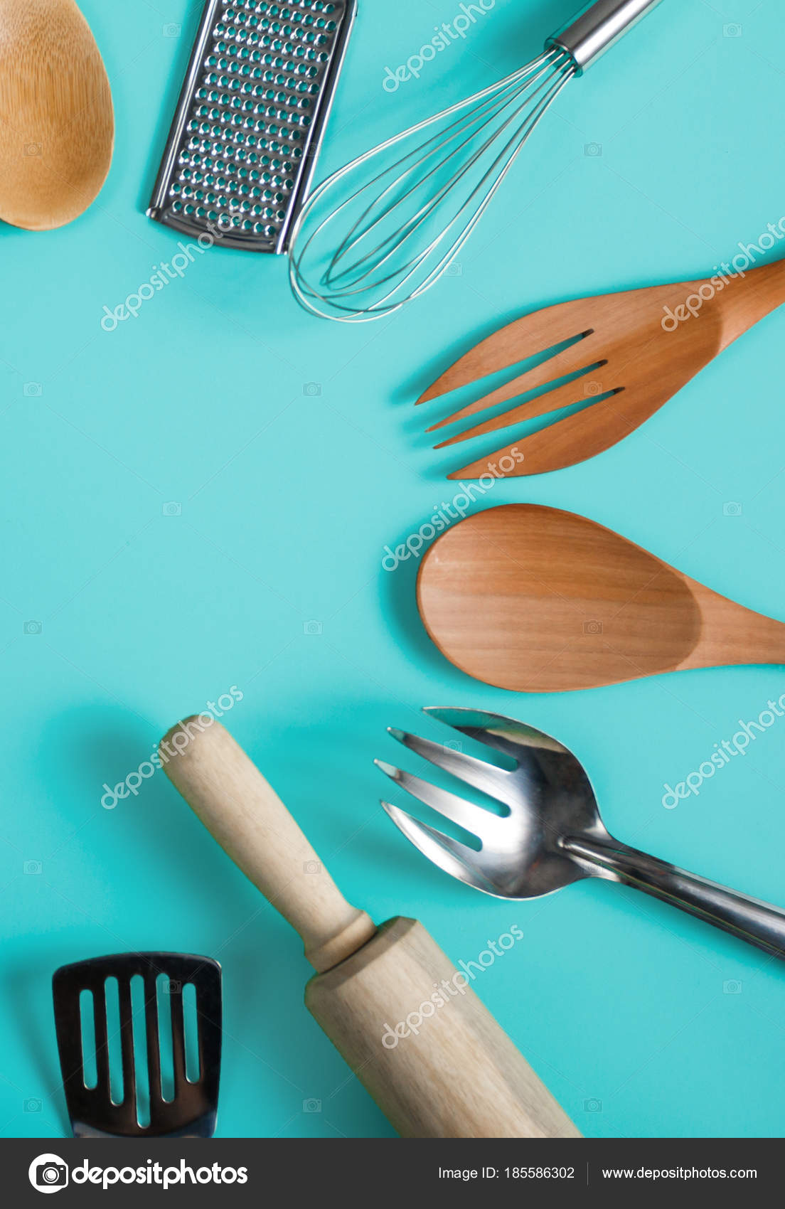 group of kitchen utensils on blue pastel background — Stock Photo ...