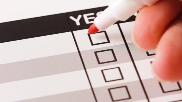 Filling yes and no checklist