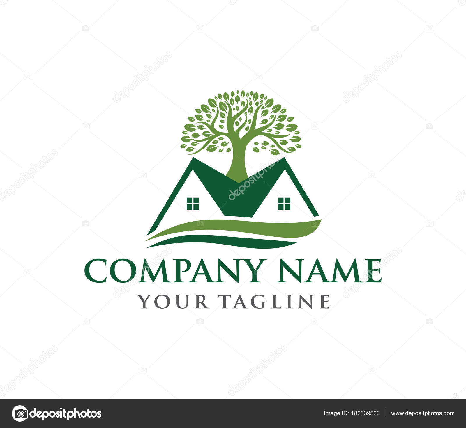Vector Logo Design Illustration Of Oak Tree Wise And Strong Stock