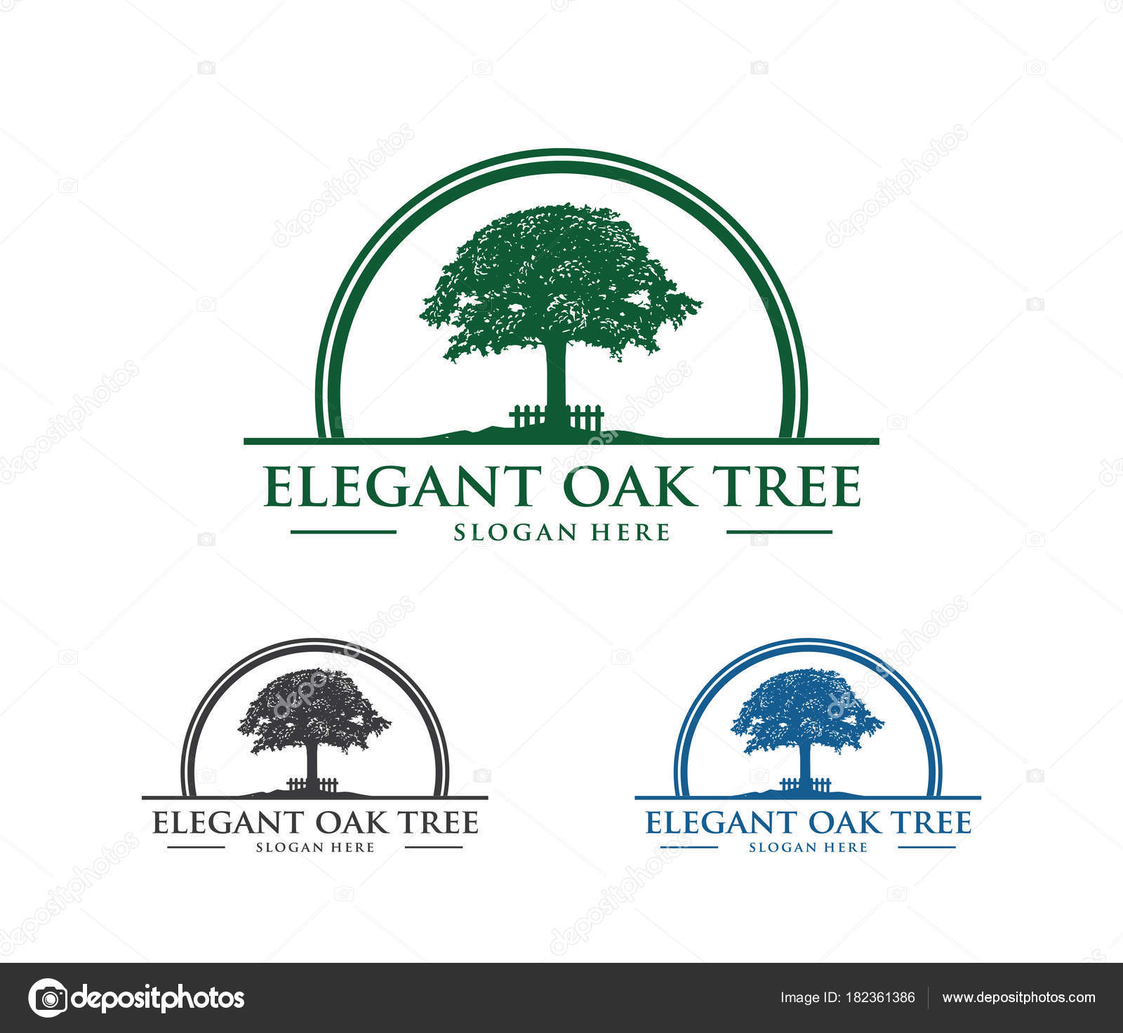 Vector Logo Design Illustration Of Oak Tree Wise And Strong House Property Firm