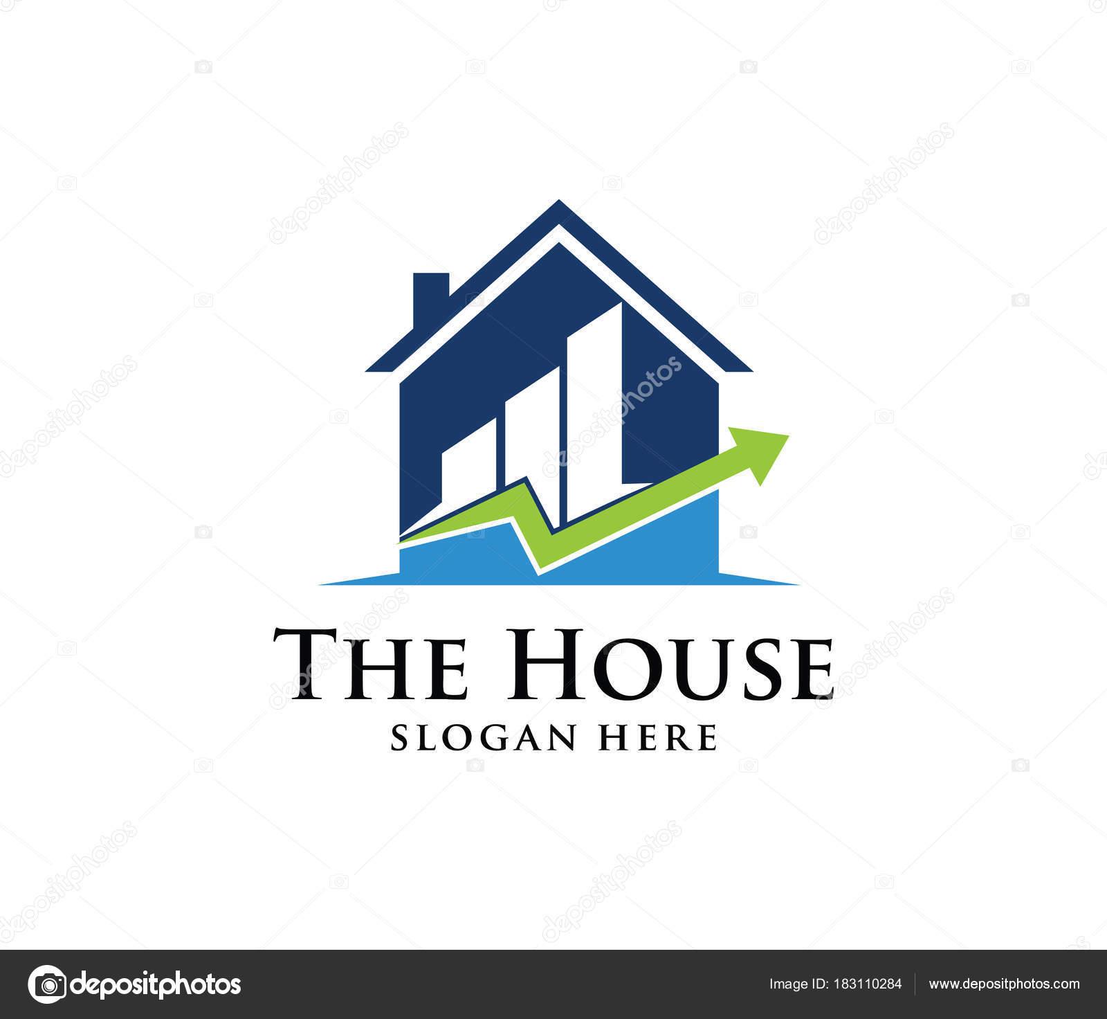 Vektor Logo Design Haus Home Immobilien Mit Steigenden Diagramm ...