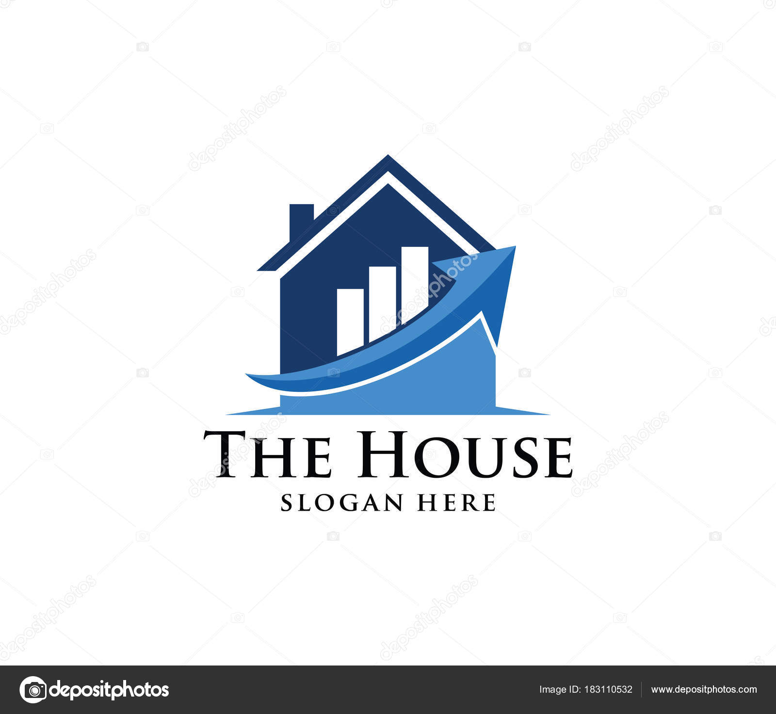 vector logo design house home real estate rising chart perfect
