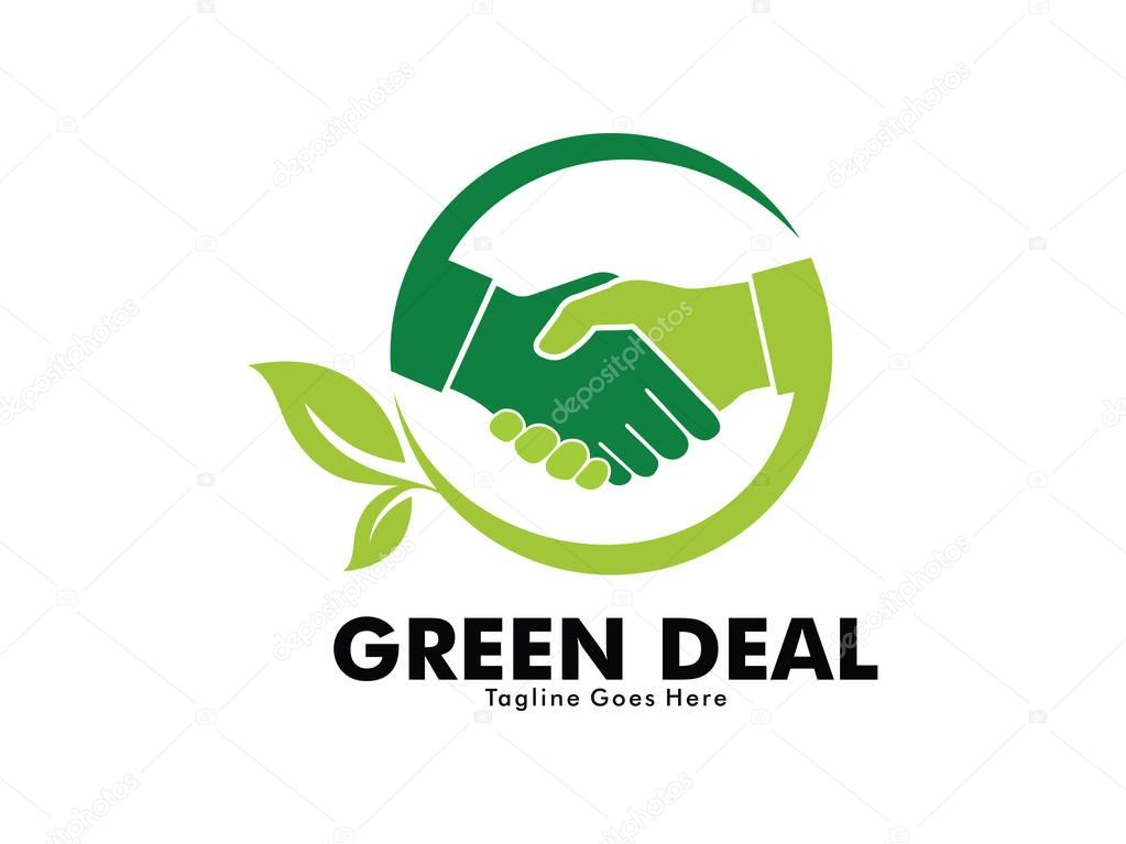 nature green deal handshake vector logo design