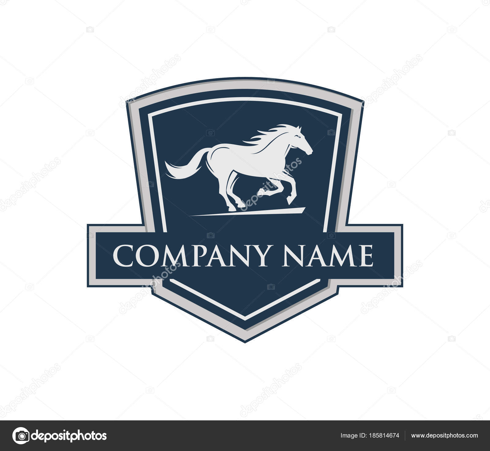Running Horse With Shield Emblem Crest Vector Logo Design Stock Vector C Great19 185814674